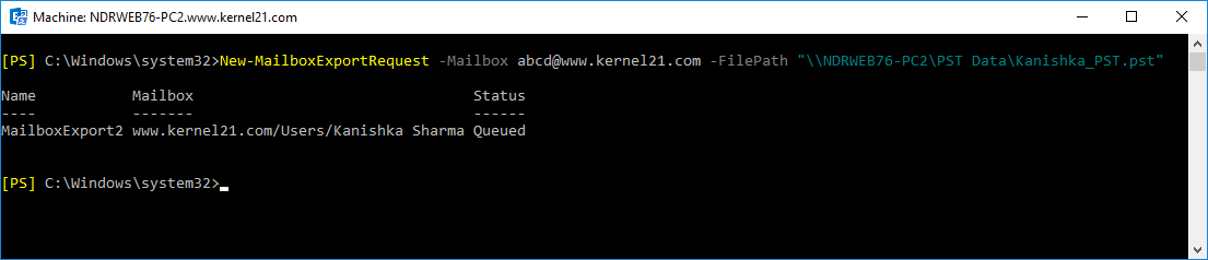 PowerShell command, your mailbox gets exported to Outlook PST