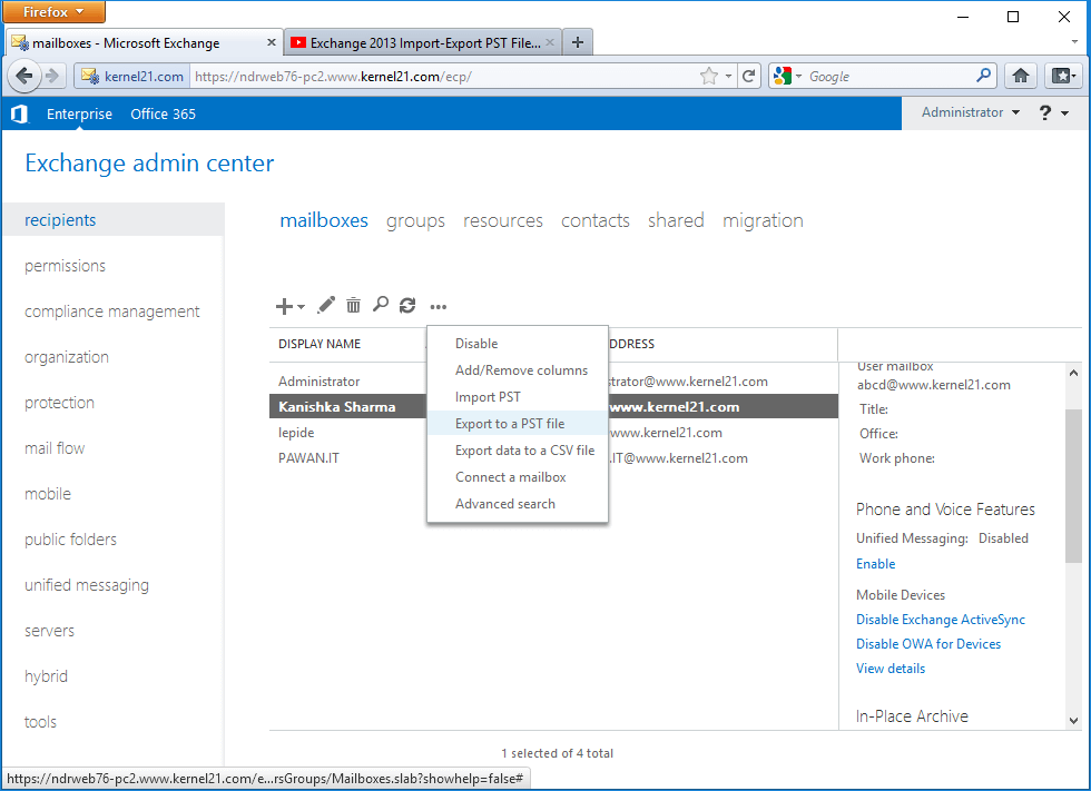 Exchange Admin Center to export your EDB files to PST