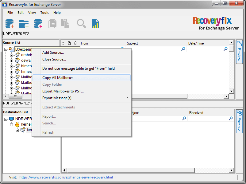 Right-click on the root folder (of the source EDB file) and select Copy All Mailboxes