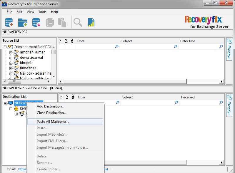 right-click on the root folder and then select Paste All Mailboxes