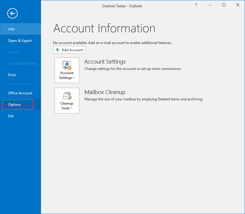 outlook 2016 offline settings greyed out