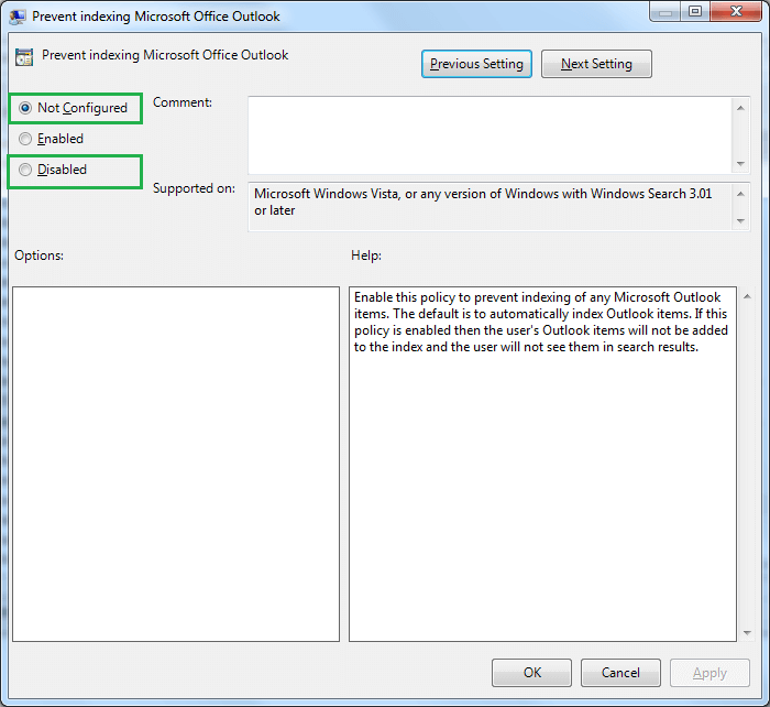 checkbox is selected for either Not Configured or Disabled
