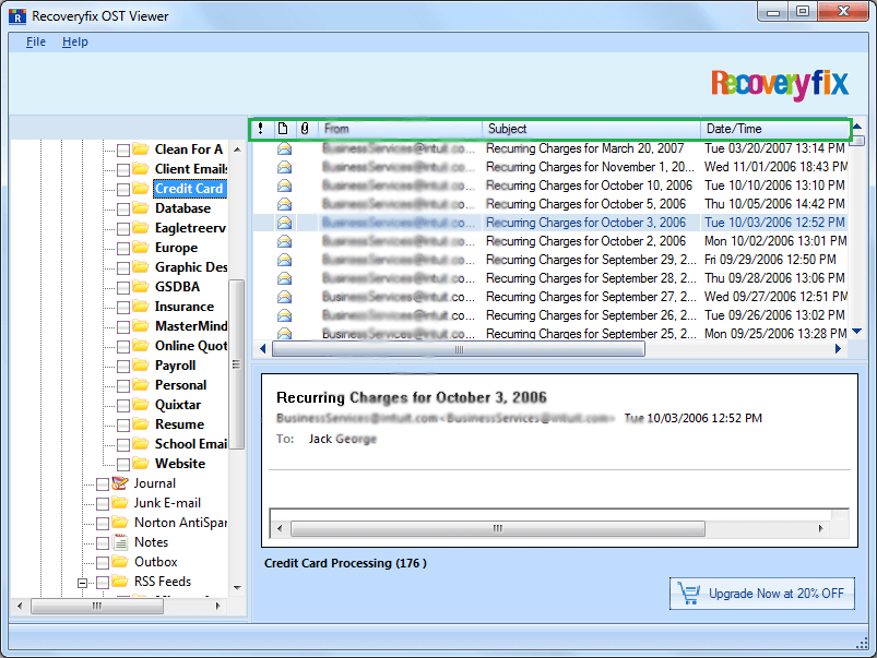 shows a detailed message list with From, Subject, Date/Time and Lost/Deleted