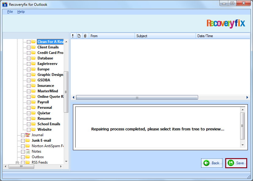 Select the required folders and click Save to save the recovered PST