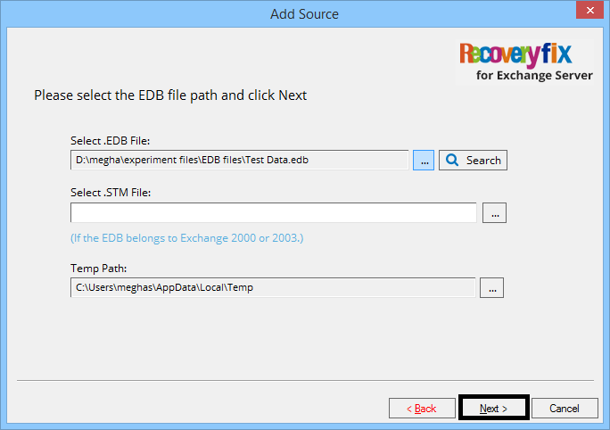 Click … to browse and add the EDB file for recovery; click Next