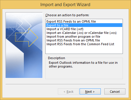 "select ""Export to a file"" and click Next"
