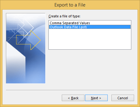 "select ""Outlook Data File"" and click Next"