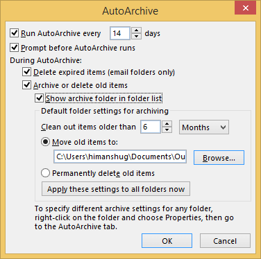 Select the specific folder to save the archived file and click OK