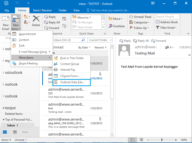 Click on the New Items, point to More Items and click Outlook Data files