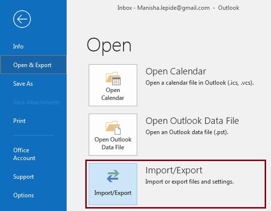 click Import/Export.