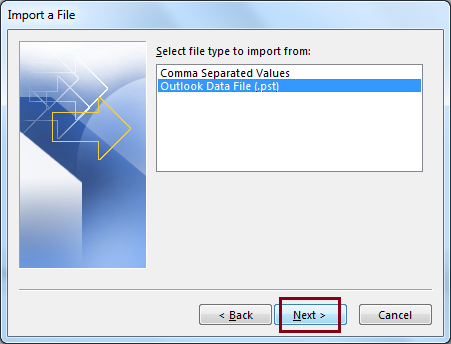 Select Outlook Data File (.pst) option and click Next
