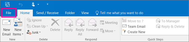 Click on 'File', located on the top part of your Outlook ribbon
