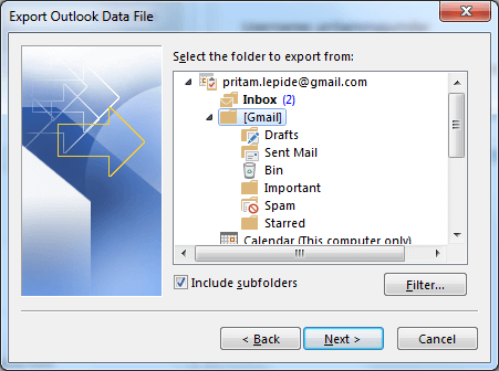 Select mail folder you wish to backup. Click next