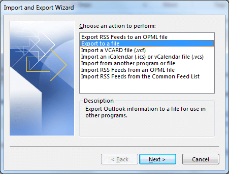 select export to a File. Click Next