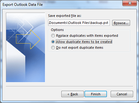 Select 'Allow Duplicate Options to be Created'. Click Finish