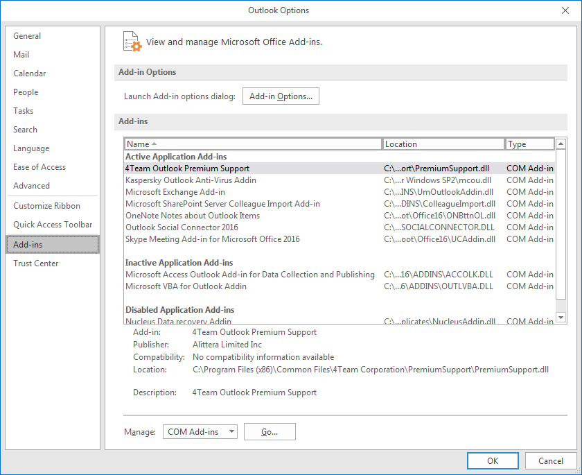 add-ins can cause complications with the normal working of Outlook. Identify such add-ins and remove them