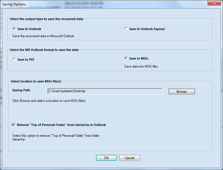 save it in different formats to open in Outlook and/or Outlook Express apps