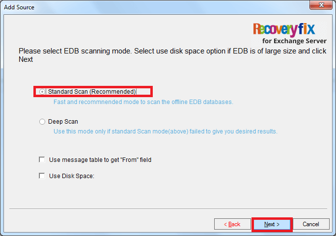 "Use Disk Space"" as per your requirement and click Next"
