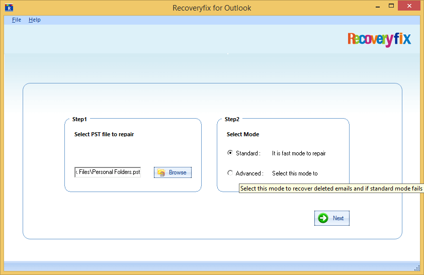 select the PST file to repair AND Select mode