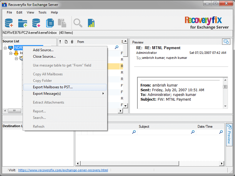 right-click on the EDB root directory and select Export Mailboxes to PST