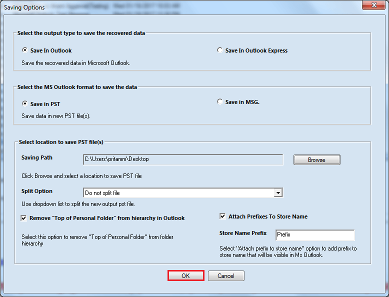 select location to save the PST File, and Click Ok