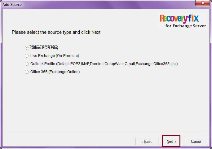 select the source type, select 'Offline EDB file' and click on Next