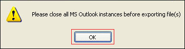 important to exit all Outlook instances, click Ok