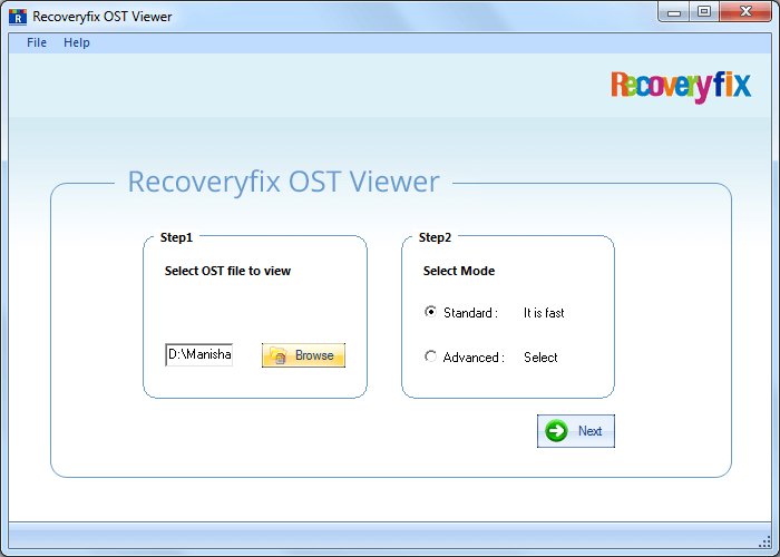 Browse to select the OST file and then press Next