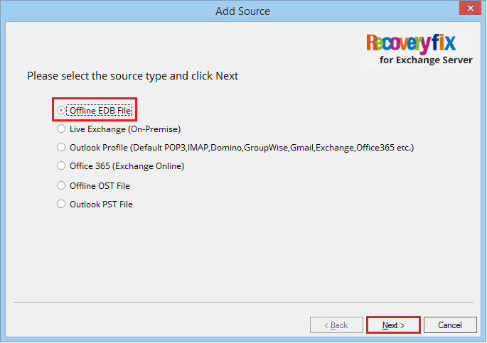 Select the source type and click Next