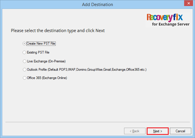 Create new PST file' and click Next