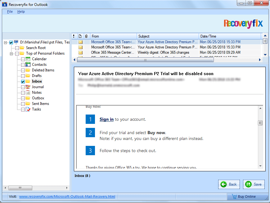 Preview of Outlook PST file