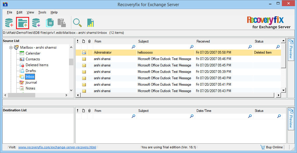 Recover and Restore a Mailbox From Exchange Server 2010