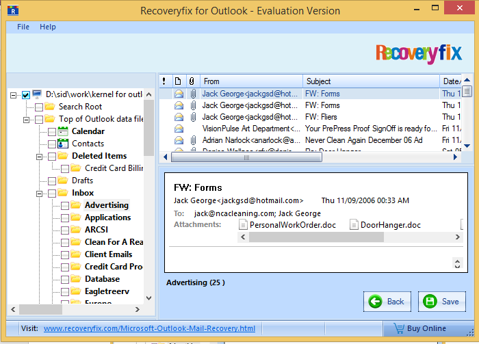 now can Save the recovered PST file(s)
