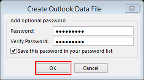Provide a password to protect your PST file.