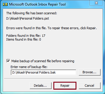 errors in the PST file, click Repair