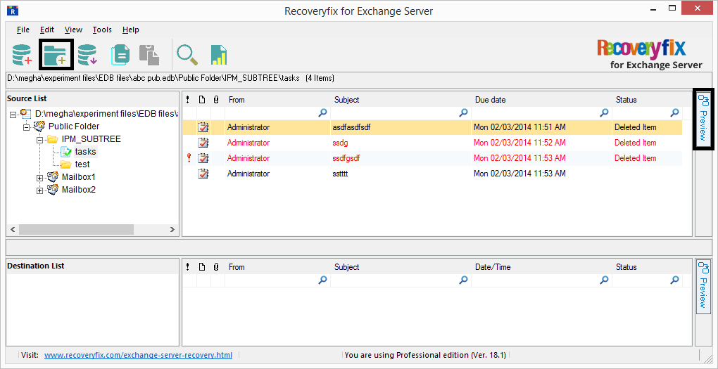 add the destination for saving the recovered public folder data