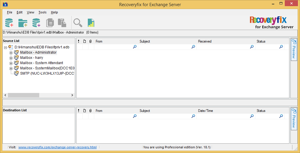 Click Finish to display the mailboxes of EDB file in the tool