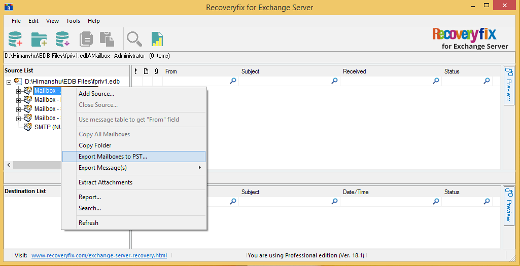 select the Export mailboxes to PST option