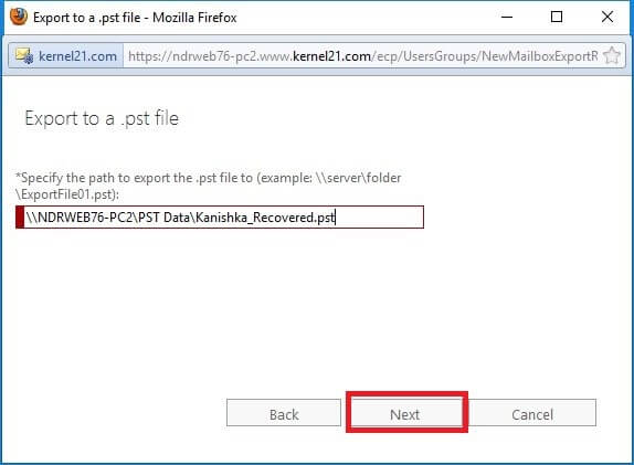 enter the UNC path and filename of the target.pst file, and then click Next
