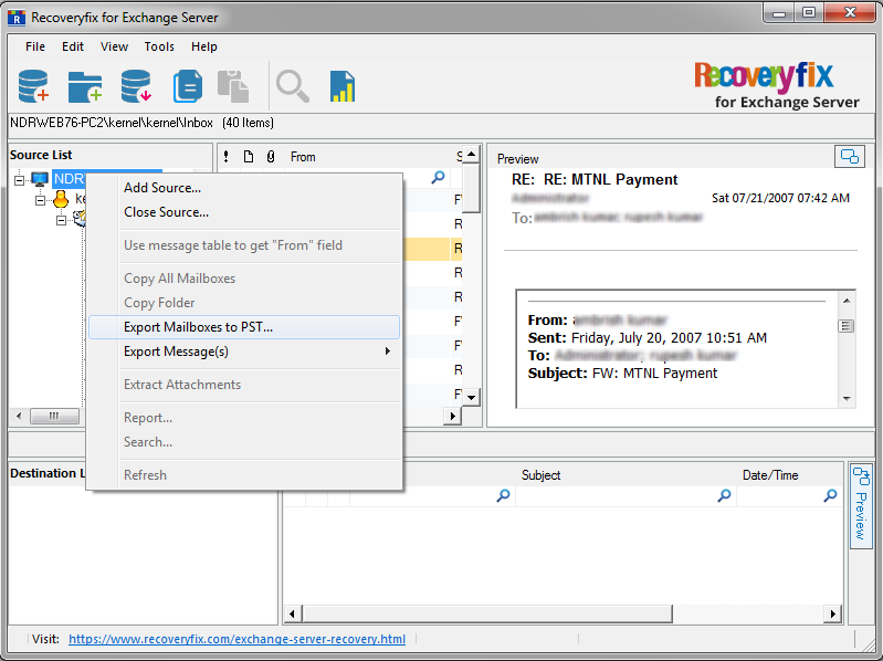 click Export Mailboxes to PST