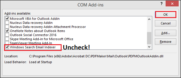 Windows Search Email Indexer and click OK