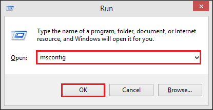 In the edit, box enters msconfig and click OK