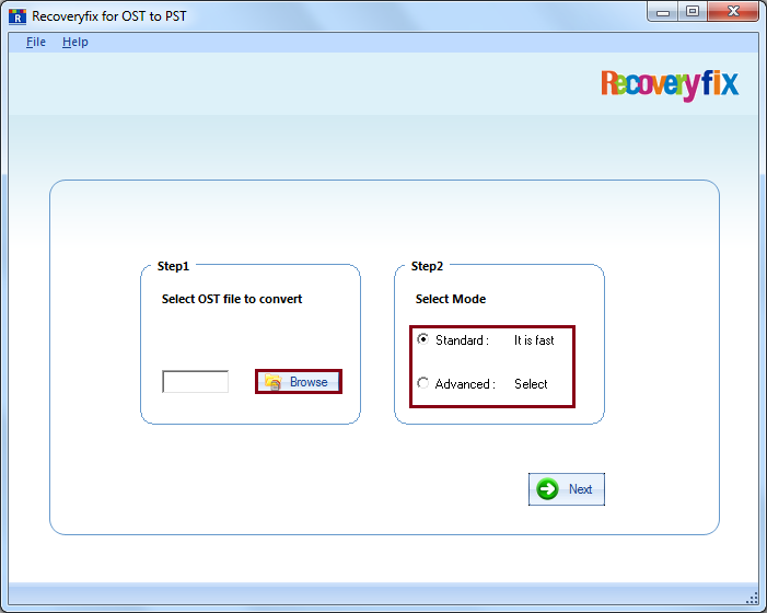 Select the Mode to recover the corrupt PST file