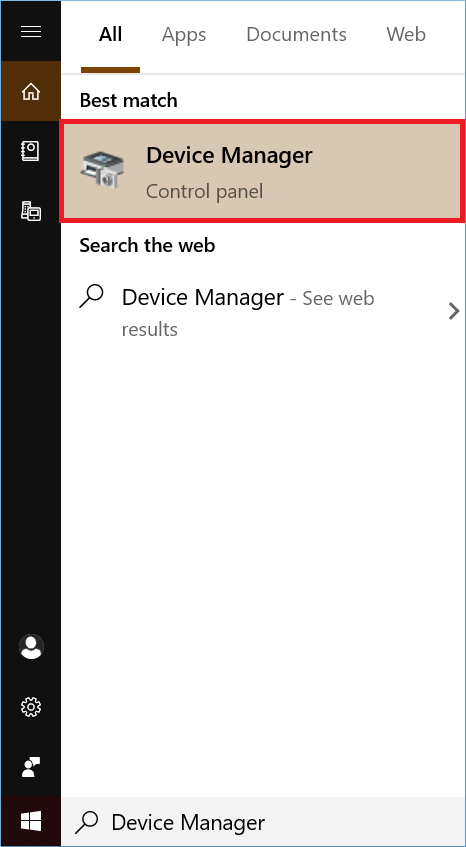 find Device Manager and open it
