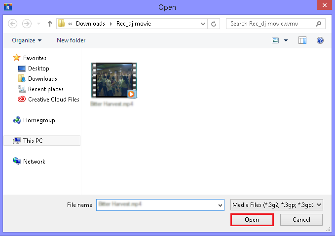 Select and add corrupt video files.