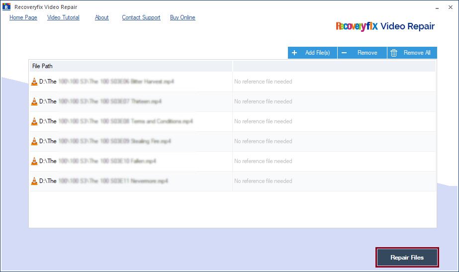 click on Repair Files