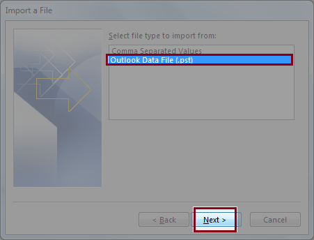Select file type to Import from