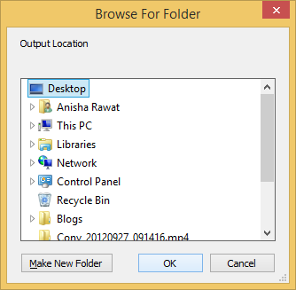Choose the desired location to save the file