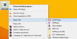 choose the desired media player to open the file