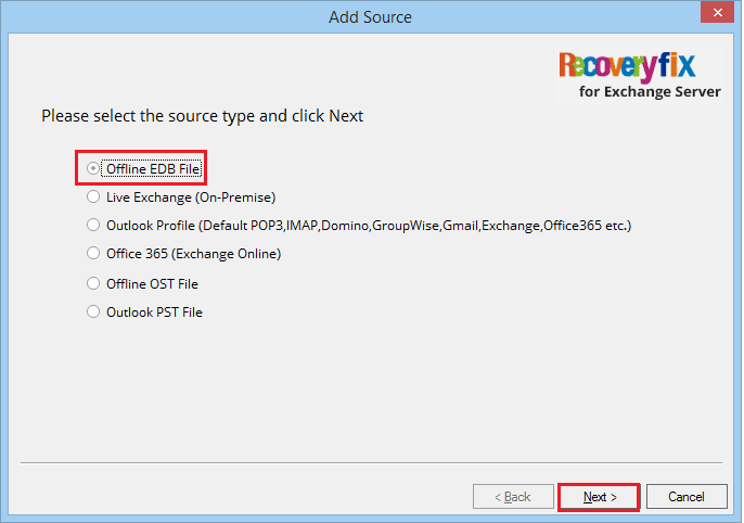 Select the source EDB file